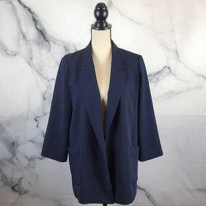 HARLOWE & GRAHAM 3/4 sleeve open blazer